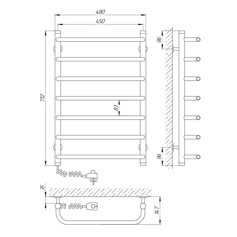 Схема - Полотенцесушитель электрический лесенка Laris Стандарт П7 450Х700 Э подключение слева