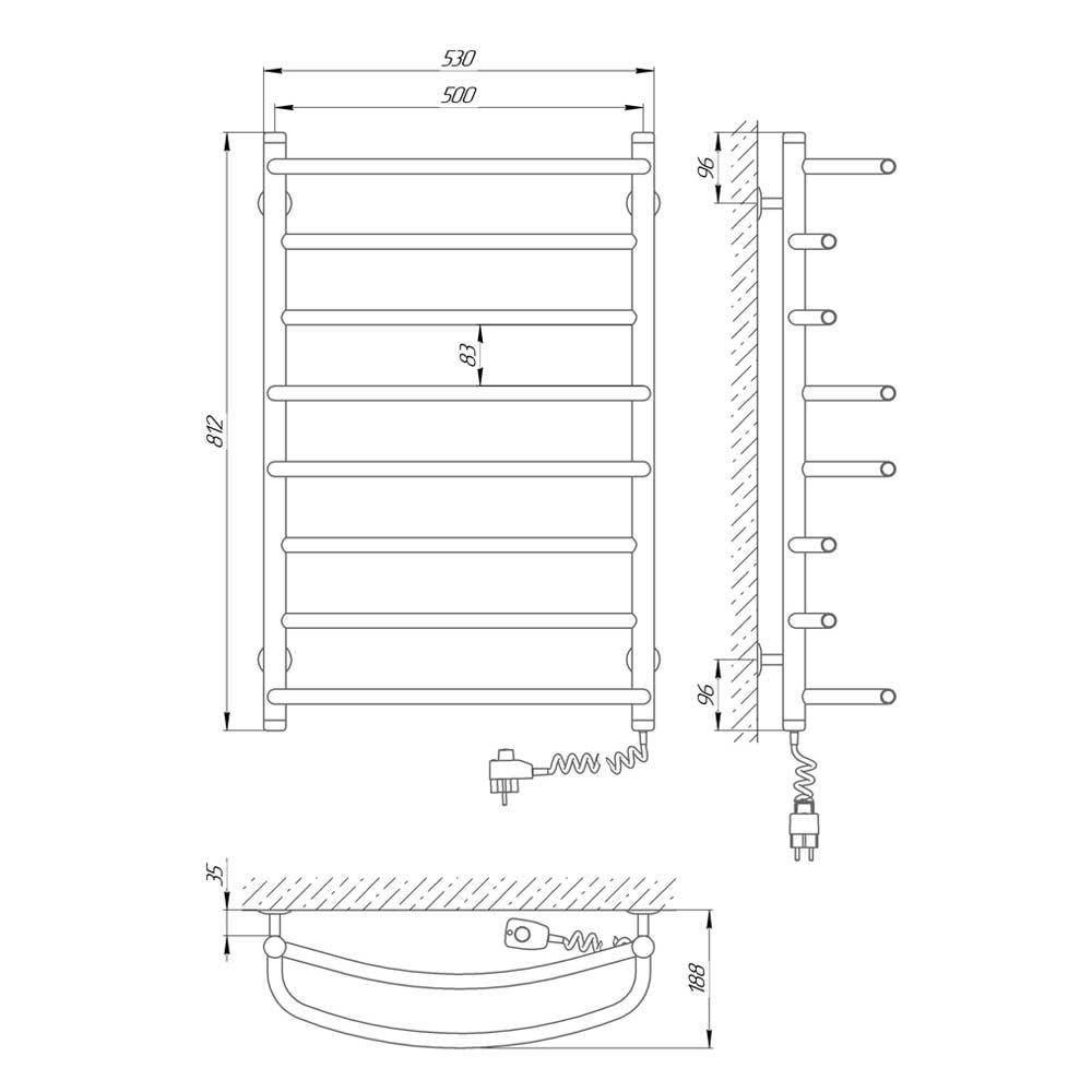 Схема - Полотенцесушитель электрический Laris Евромикс П8 500х800 Э подключение справа