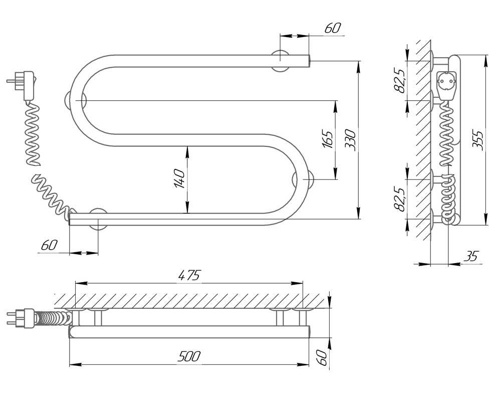 Схема - Полотенцесушитель электрический змеевик S-образный Laris 25ПС2 500х330 Э подключение слева