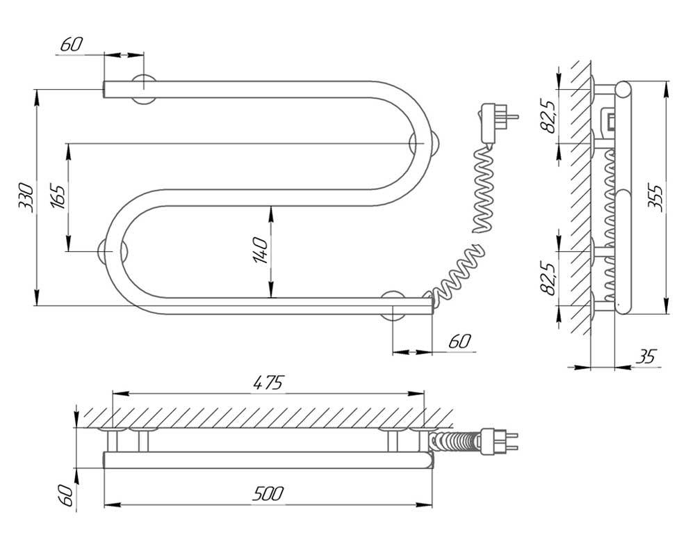 Схема - Полотенцесушитель электрический змеевик S-образный Laris 25ПС2 500х330 Э подключение справа