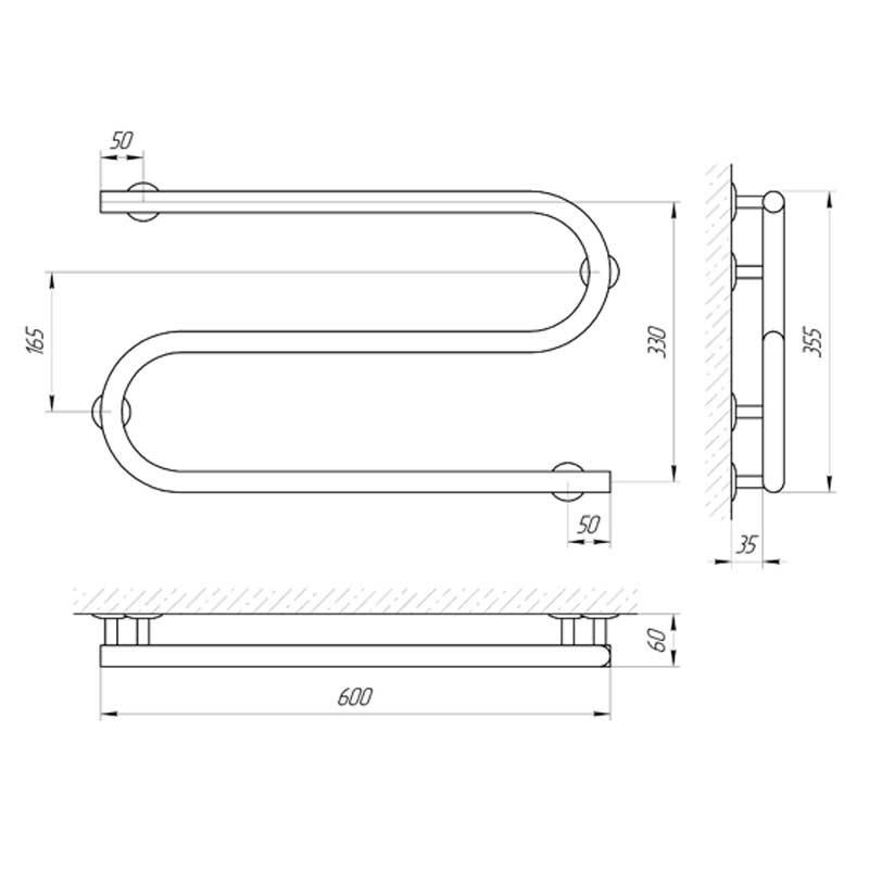 Схема - Полотенцесушитель электрический змеевик S-образный Laris 25ПС2 600х330 Э подключение справа