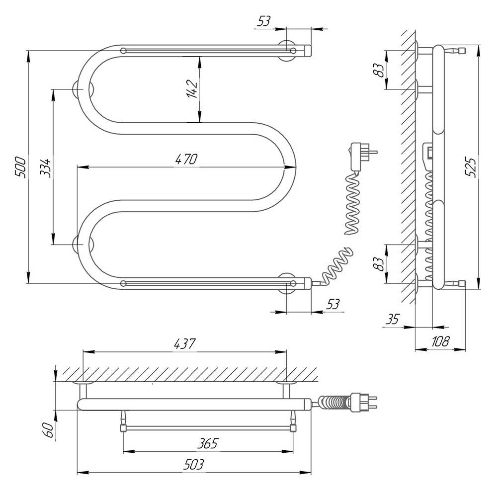 Схема - Полотенцесушитель электрический М-образный змеевик 25ПС3 500X500 с двумя полками, подключение справа