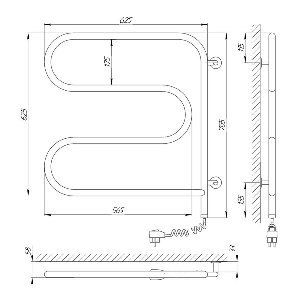 Схема - Полотенцесушитель электрический Ш-образный змеевик Laris 25 ПС3 600х600 Э поворотный