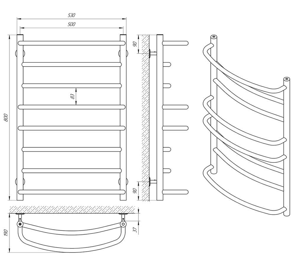 Схема - Водяной полотенцесушитель Laris Евромикс П8 500х800 черный матовый из нержавеющей стали