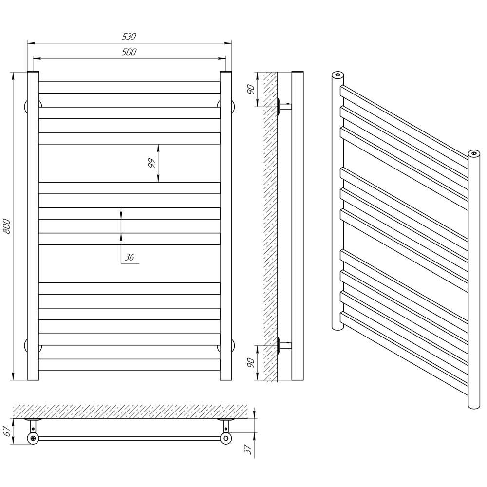 Схема - Водяной полотенцесушитель Laris Кватро П10 500х800 черный матовый из нержавеющей стали