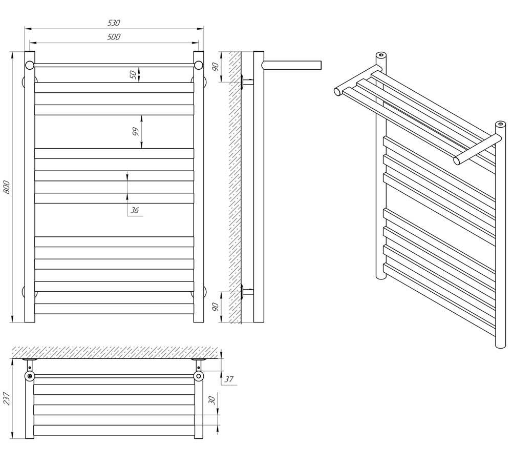 Схема - Водяной полотенцесушитель Laris Кватро П10 500х800 черный матовый с полкой из нержавеющей стали