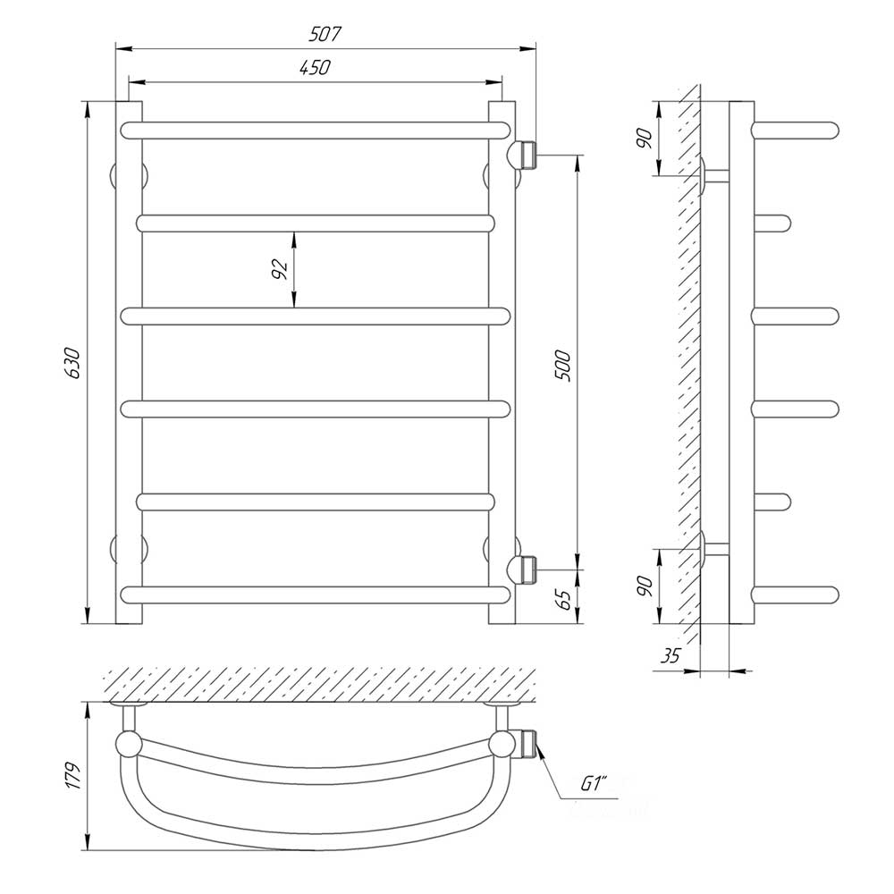 Схема - Водяной полотенцесушитель Laris Евромикс П6 450х600 б/п 1