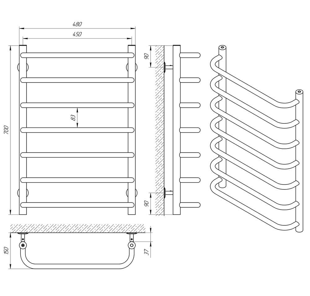 Схема - Водяной полотенцесушитель Laris Стандарт ЧМБФ7 500х700 черный матовый из нержавеющей стали