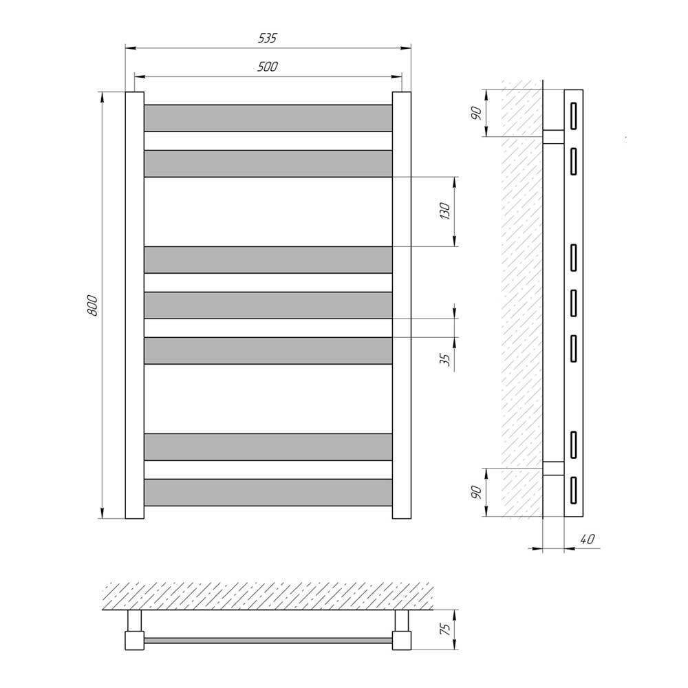Схема - Водяной полотенцесушитель Laris Бонд ЧМБФ7 500х800 из нержавеющей стали (Черный матовый)
